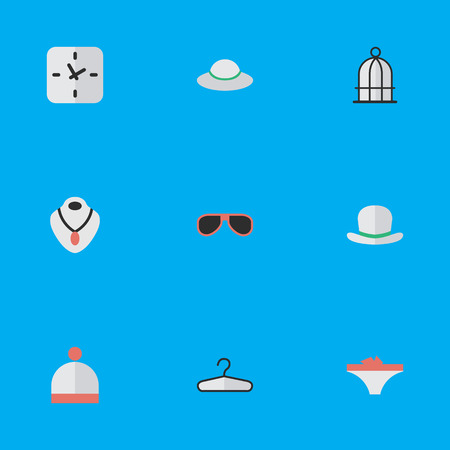 appliances: Vector Illustration Set Of Simple Equipment Icons. Elements Female Cap, Time, Birdcage And Other Synonyms Sunglasses, Cage And Woman.