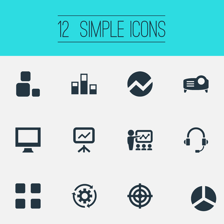 Vector Illustration Set Of Simple  Icons. Elements Training, Projecting Device, Monitor And Other Synonyms Technology, Target And Report. 向量圖像