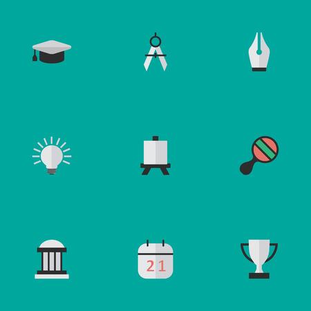 簡単な教育アイコンのベクター イラスト セット。要素測定仕切り、ペン先、ゴブレット、他類義語大学、カレンダーおよびゴブレット。  イラスト・ベクター素材