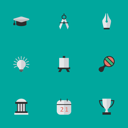 Vector Illustration Set Of Simple Education Icons. Elements Measurement Dividers, Nib, Goblet And Other Synonyms University, Calendar And Goblet.
