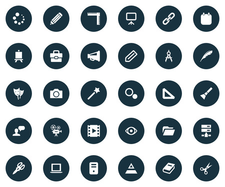 Vector Illustration Set Of Simple Design Icons. Elements Loading, Laptop, Movie And Other Synonyms Progress, Shears And Server.