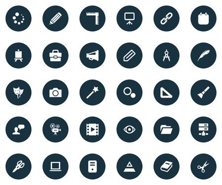 Vector illustratie Set van eenvoudige ontwerp pictogrammen. Elementen laden, laptop, film en andere synoniemenvooruitgang, scharen en server.