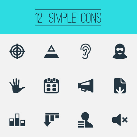 Vector Illustration Set Of Simple Impasse Icons. Elements Aim, Palm, Reminder And Other Synonyms Speaker, Work And Off.