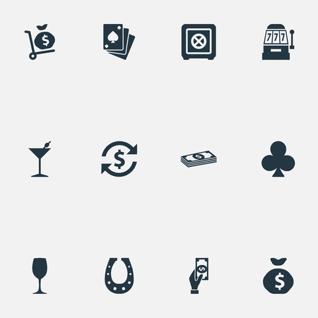 Vector Illustration Set Of Simple Gambling Icons. Elements Drink, Cash, Poker And Other Synonyms Cash, Shoe And Giving.