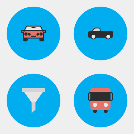 Vector Illustration Set Of Simple Transportation Icons. Elements Strainer, Auto, Autobus And Other Synonyms Delivery, Sedan And Percolator.
