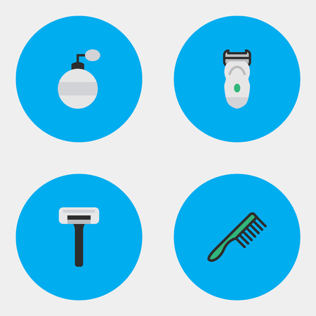 Vector Illustration Set Of Simple Hairdresser Icons. Elements Shaver, Electronic, Fragrance And Other Synonyms Fragrance, Comb And Shaver.