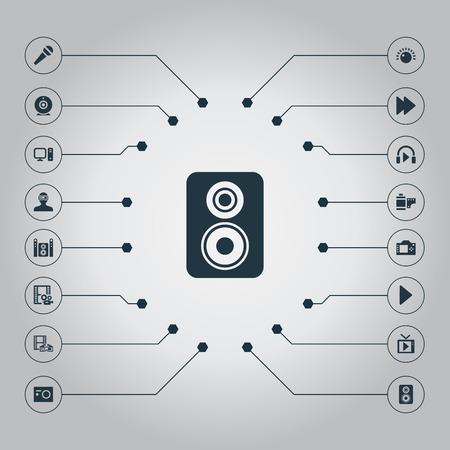 Vectorillustratiereeks Eenvoudige Multipictogrammen. Elements PC, Start Audio, Movie And Other Synoniemen Listen, Forward And Camera. Vector Illustratie