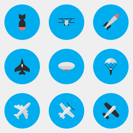 Vector Illustration Set Of Simple Aircraft Icons. Elements Catapults, Aviation, Bomb And Other Synonyms Balloons, Vehicle And Parachute.