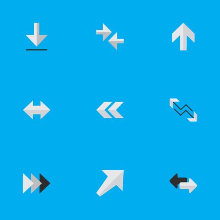 単純なインジケーター アイコンのベクター イラスト セット。要素のエクスポート、南西、矢印と他の同義語バック、後方と後方。