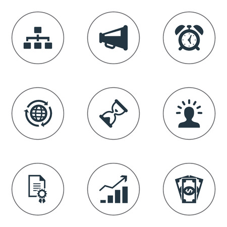 Vector Illustration Set Of Simple Brainstorming Icons. Elements Agreement, Speaker, Hierarchy And Other Synonyms Cash, Diagram And Earth. Ilustração