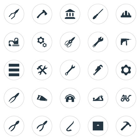Vector Illustration Set Of Simple Architecture Icons. Elements Clipping Tool, Home, Saw And Other Synonyms Home, Chisel And Building.