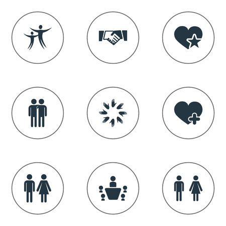 Vector Illustration Set Of Simple  Icons. Elements Conference, Couple, Gender And Other Synonyms Plus, Human And Female.