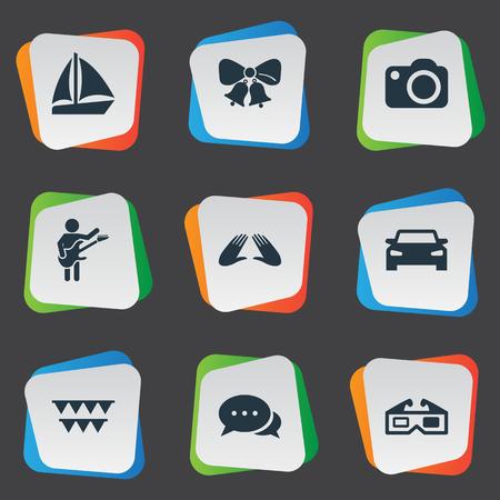 Illustrazione vettoriale Set di icone semplici di partito. Corrispondenza di elementi, Guitar Player, Automobile e altri sinonimi Celebration, Correspondence And Cake. Archivio Fotografico - 82751049