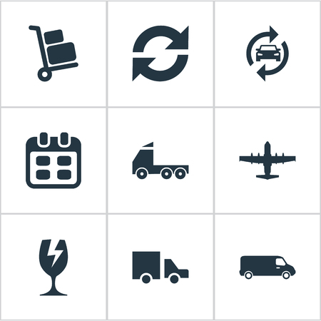 Vectorillustratiereeks Eenvoudige Overdrachtpictogrammen. Herhaalbaarheid van elementen, vliegtuig, bagagedrager en andere synoniemenkalender, luchtvaart en industrie.