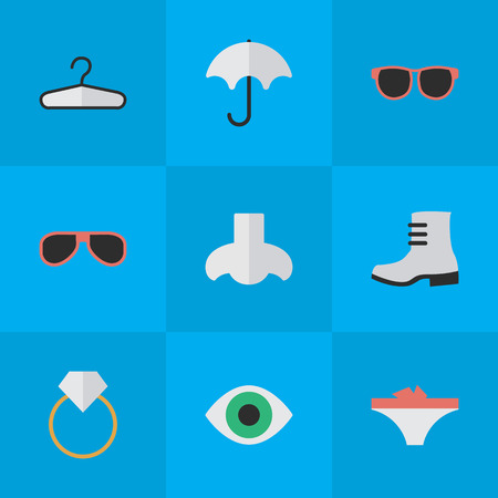 Vector Illustration Set Of Simple Instrument Icons. Elements Lingerie, Parasol, Smell And Other Synonyms Parasol, Glasses And Smell.