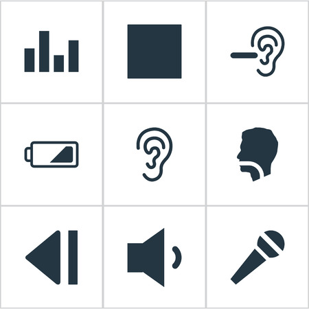 Vector Illustration Set Of Simple Audio Icons. Elements Ear, Multimedia Buttons, Player And Other Synonyms Charge, Equalizer And Low Battery.