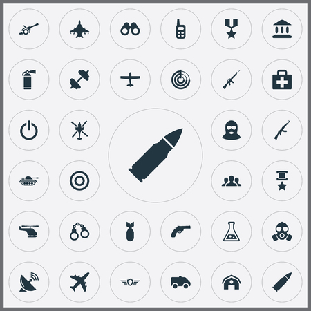 Vector Illustration Set Of Simple War Icons. Elements Group, Heavy Weapon, Rifle Gun And Other Synonyms Medallion, Communication And Dumbbell.