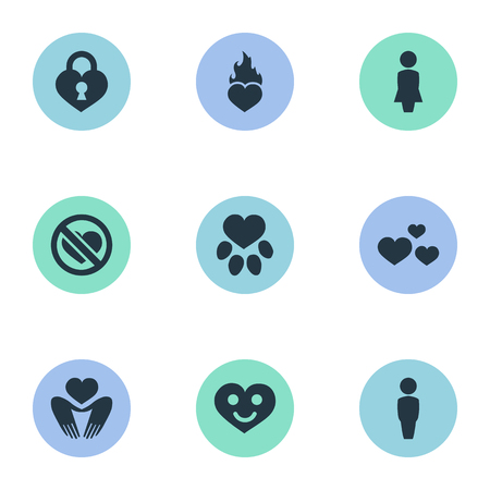Vector Illustration Set Of Simple Love Icons. Elements Footprint, Heart Lock, Fire And Other Synonyms Mother, Smiling And Footprint.