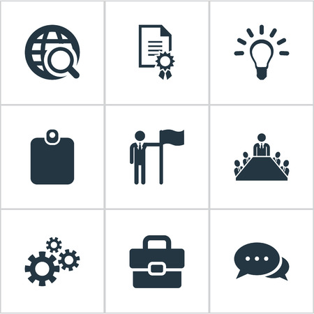 Vector Illustration Set Of Simple Resources Icons. Elements Leader, Conversation, Identification Card And Other Synonyms World, Card And Diploma. 向量圖像