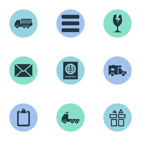 Vector Illustration Set Of Simple Handing Icons. Elements Roster, Packaging, Envelope And Other Synonyms Checklist, Birthday And Glass.