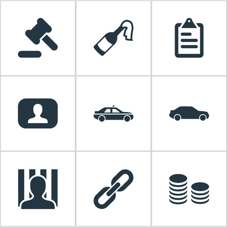 Vector Illustration Set Of Simple Crime Icons. Elements Automobile, Bottle, Attach And Other Synonyms Identification, Cash And Car.