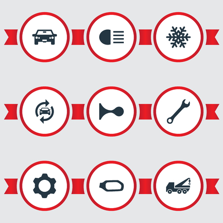 Vector Illustration Set Of Simple Vehicle Icons. Elements Transportation, Side Mirror, Spanner And Other Synonyms Machine, Mirror And Key.