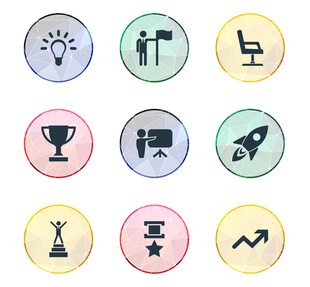Vector Illustration Set Of Simple Champion Icons. Elements Presentation, Chair, Innovation And Other Synonyms Chair, Arrow And Achievement.