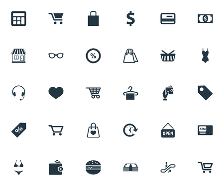 Vector Illustration Set Of Simple Basket Icons. Elements Package, Boutique, Plastic Money And Other Synonyms Carriage, Wallet And Bill. Illustration