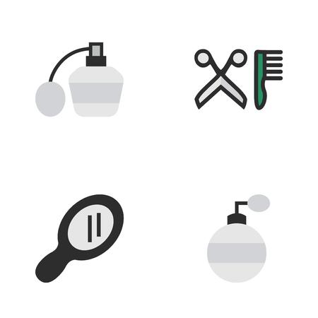 벡터 일러스트 레이 션 간단한 미용사 아이콘의 집합입니다. 요소 향수, 빗, 향수 및 다른 동의어가 위, 거울 및 병입니다.