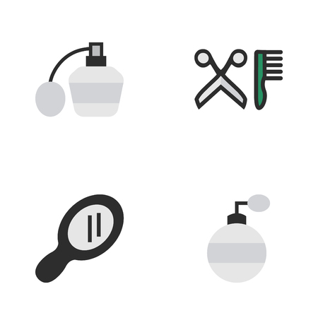 Vector Illustration Set Of Simple Hairdresser Icons. Elements Fragrance, Comb, Perfume And Other Synonyms Scissors, Mirror And Bottle.