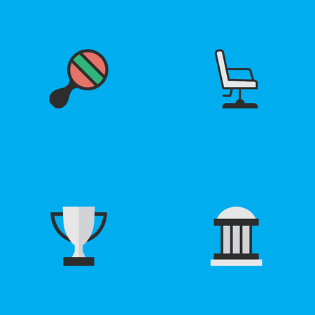 Vector Illustration Set Of Simple Education Icons. Elements Armchair, Goblet, Racket And Other Synonyms Seat, Goblet And Award.