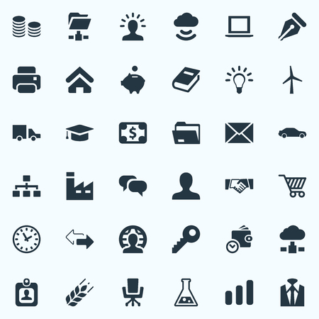 Vector Illustration Set Of Simple Business Icons. Elements Relationship, House Location, Partnership And Other Synonyms Firm, Envelope And Dollar.