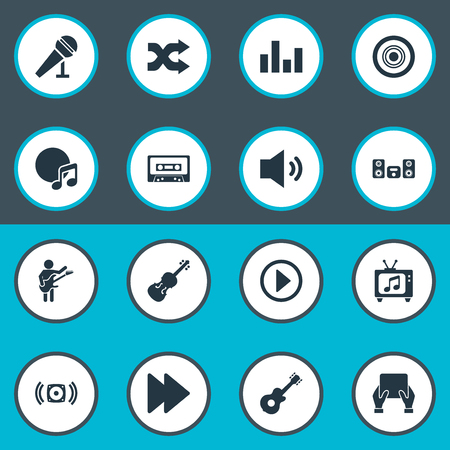 Vector Illustration Set Of Simple  Icons. Elements Amplifier, Stabilizer, Tablet And Other Synonyms Amplifier, Sound And Tape.