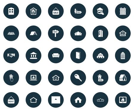 Vector illustratie Set van eenvoudige Estate pictogrammen. Elementenhut, high-rise, online eigendom en andere synoniemenstructuur, agent en handshake.