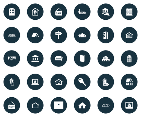 Vector Illustration Set Of Simple Estate Icons. Elements Hut, High-Rise, Online Property And Other Synonyms Structure, Agent And Handshake.