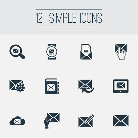 Vector Illustration Set Of Simple Communication Icons. Elements Make Up, Entering, Receiver And Other Synonyms Tablet, Notepad And Settings.
