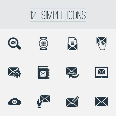 Vector illustratie Set van eenvoudige communicatie iconen. Elementen make-up, invoeren, ontvanger en andere synoniemen Tablet, Kladblok en instellingen.