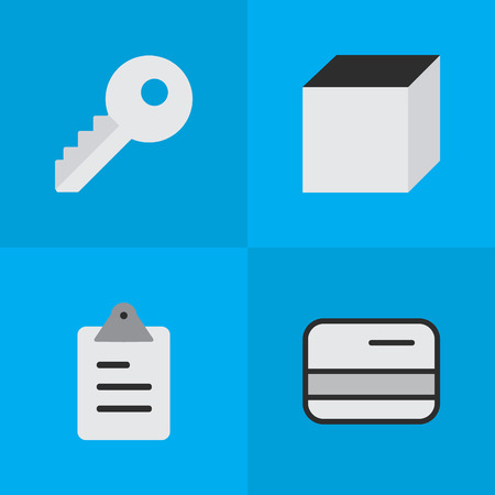 Vector Illustration Set Of Simple Trade Icons. Elements Clipboard, Pay, Opening And Other Synonyms List, Open And Square. Illustration
