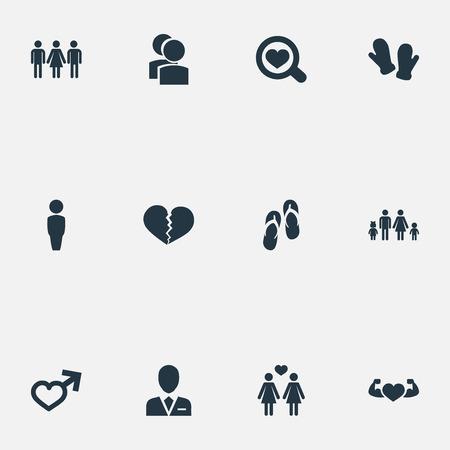 벡터 일러스트 레이 션 간단한 사랑 아이콘의 집합입니다. 성분 계보, 법정 위반자, 후보자 동의어 사랑, 남성 및 뒤집기.