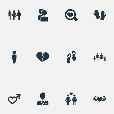 Vector Illustration Set Of Simple Beloved Icons. Elements Lineage, Barrister, Candidate Synonyms Love, Male And Flip. 向量圖像