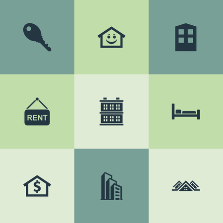 Vector Illustration Set Of Simple Real Icons. Elements Building, Smiley Casa, Construction And Other Synonyms Carcass, Hotel And Structure.