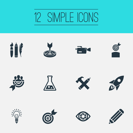 Vector Illustration Set Of Simple Visual Art Icons. Elements Rocket, Accuracy, Perfection And Other Synonyms Target, Dart And Brush.