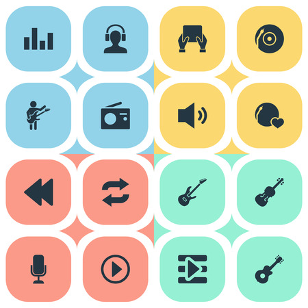 Vector Illustration Set Of Simple Music Icons. Elements Megaphone, Dj, Again And Other Synonyms Musician, Again And Fiddle. 向量圖像