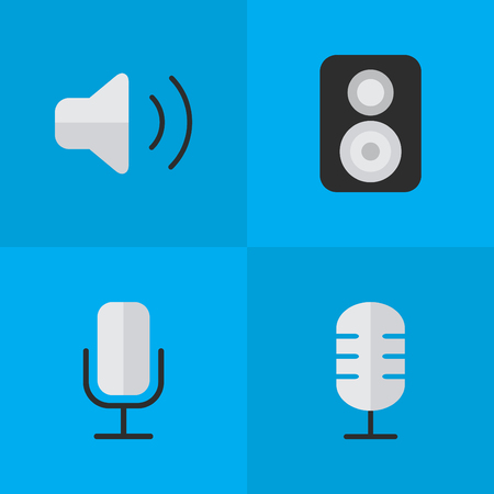 Vector Illustration Set Of Simple Sound Icons. Elements Loudness, Record, Speaker And Other Synonyms Control, Volume And Music.