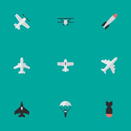 벡터 일러스트 레이 션 간단한 항공기 아이콘의 집합입니다. 요소 폭탄, 투석기, 항공기 및 기타 동의어 차량, 비행기 및 공예.