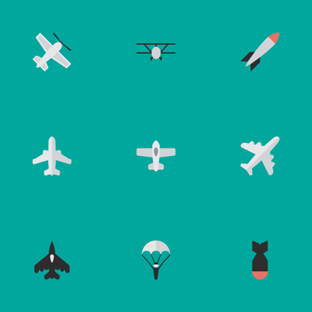 Vector Illustration Set Of Simple Aircraft Icons. Elements Bomb, Catapults, Aircraft And Other Synonyms Vehicle, Plane And Craft. Illustration