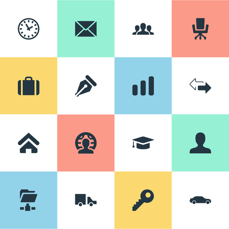 Vector Illustration Set Of Simple B2B Icons. Elements Client, Clock, Member And Other Synonyms Delivery, Left And Folder.