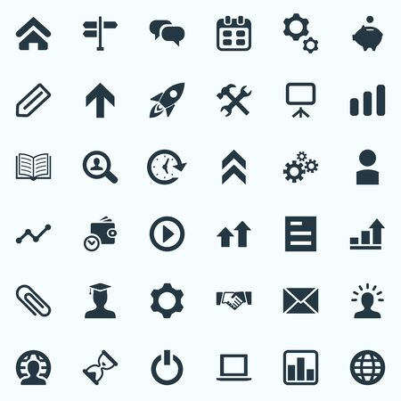Vector Illustration Set Of Simple Entrepreneurship Icons. Elements Process, Repair Tools, Analytics And Other Synonyms Presentation, Plan And Piggy.