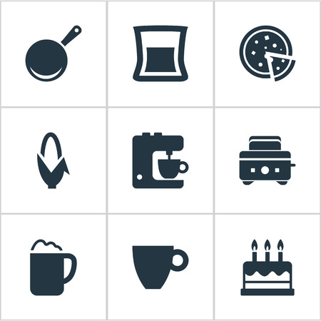 Vector Illustration Set Of Simple Kitchen Icons. Elements Skillet, Cup, Roasted Bread And Other Synonyms Pizza, Pizzeria And Candles.