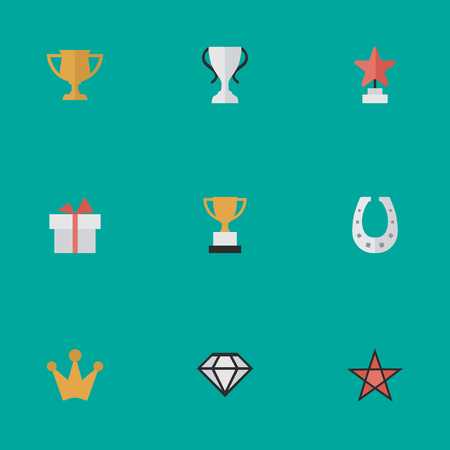 Vector Illustration Set Of Simple Trophy Icons. Elements Goblet, Star, Diamond And Other Synonyms Chalice, Star And Horseshoe. Illustration